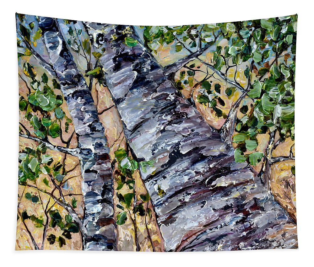 Palette Knife Work Tapestry featuring the painting Birch In Spring by OLena Art Brand