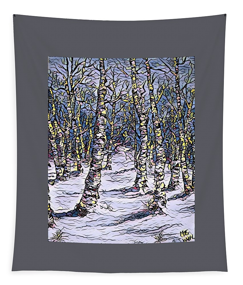 Landscapes Tapestry featuring the mixed media Birch Tree Mosaic 2 by Megan Walsh