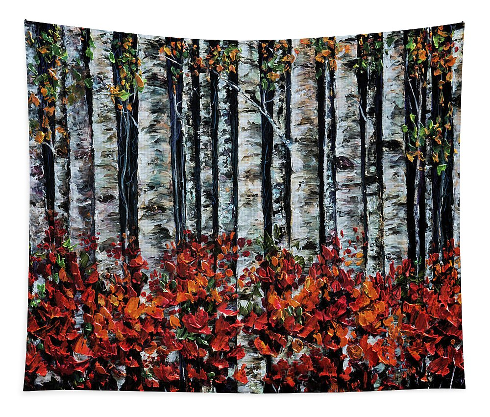 Scenic Tapestry featuring the painting Birch Trees by OLena Art Brand