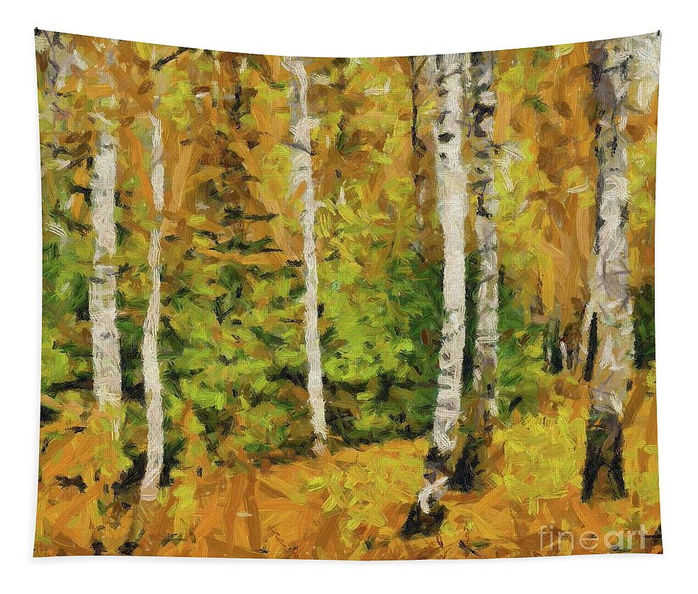 Landscape Tapestry featuring the painting Birches And Spruces by Dragica Micki Fortuna