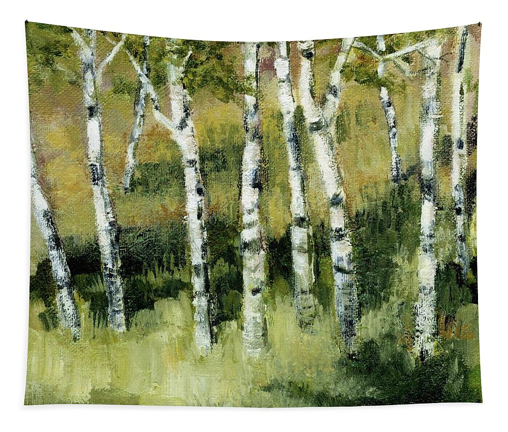 Trees Tapestry featuring the painting Birches on a Hill by Michelle Calkins