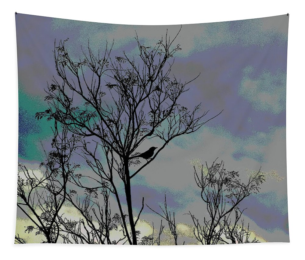 Linda Brody Tapestry featuring the photograph Bird In Tree Silhouette Iv Abstract by Linda Brody
