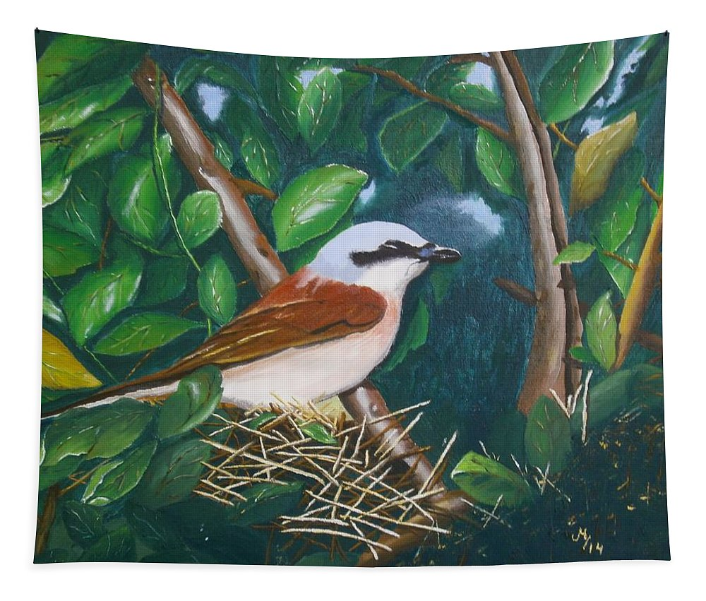 Wildlife Tapestry featuring the painting Bird by Maria Woithofer