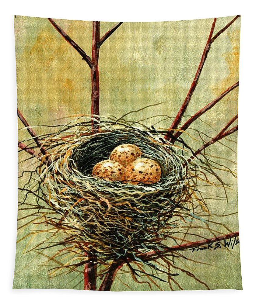 Still Life Tapestry featuring the painting Bird Nest by Frank Wilson