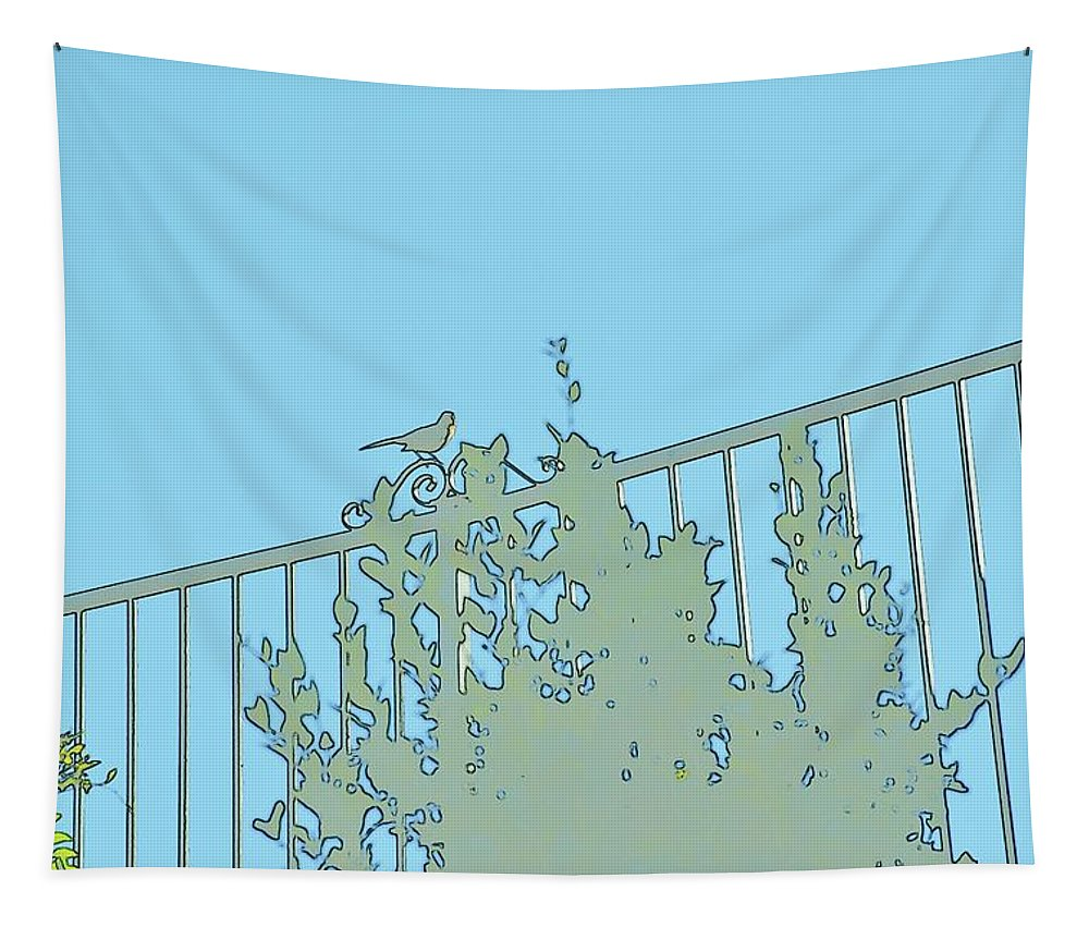 Linda Brody Tapestry featuring the photograph Bird On Fence Aqua II by Linda Brody