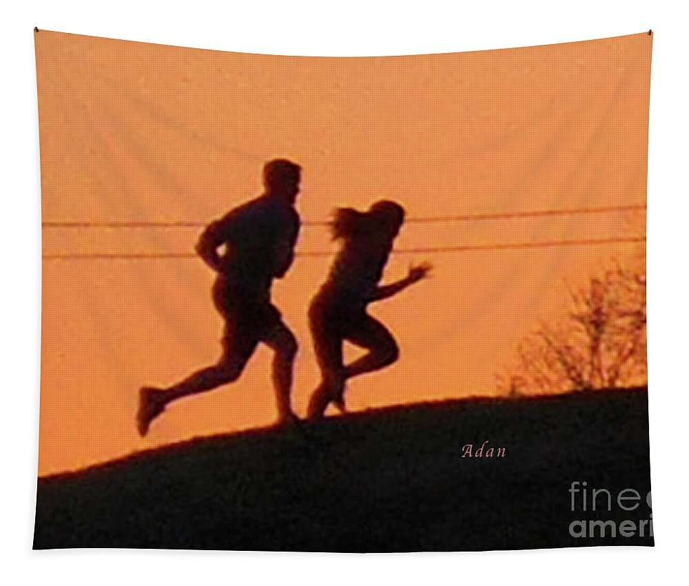 Butler Park Austin Texas Tapestry featuring the photograph Birds And Fun At Butler Park Austin - Jogging - Sunset Run by Felipe Adan Lerma