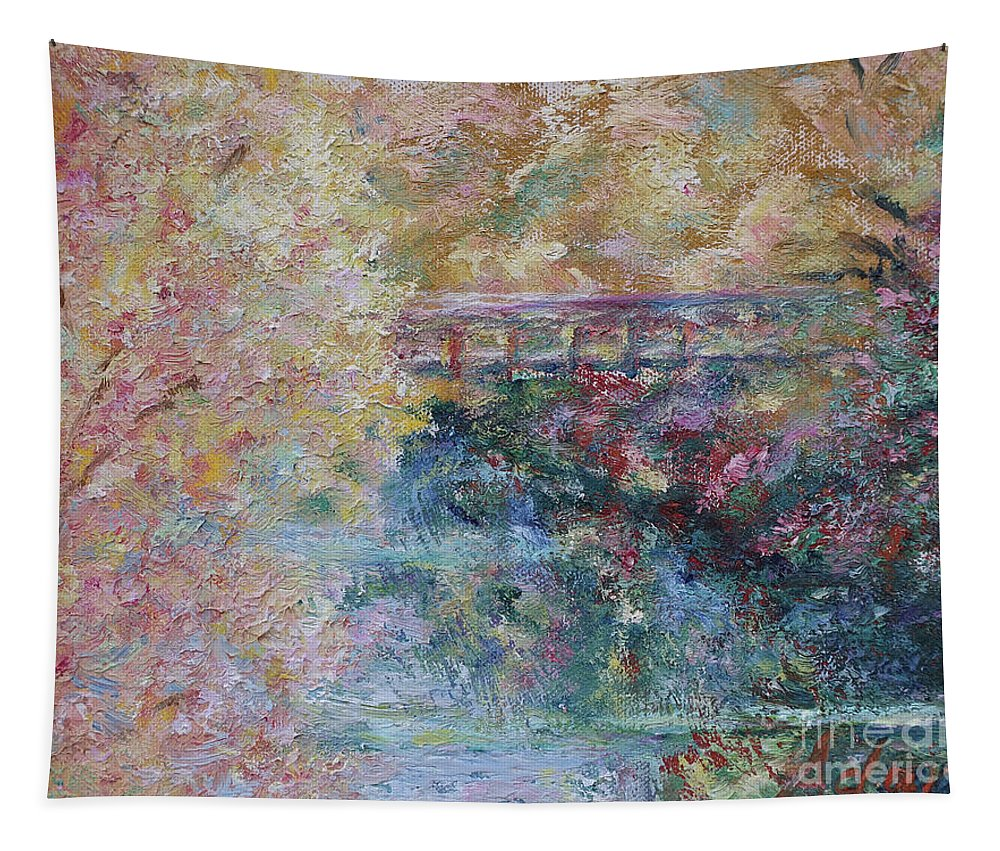 Fall Colors Tapestry featuring the painting Birds Boaters And Bridges Of Barton Springs - Autumn Colors Pedestrian Bridge by Felipe Adan Lerma