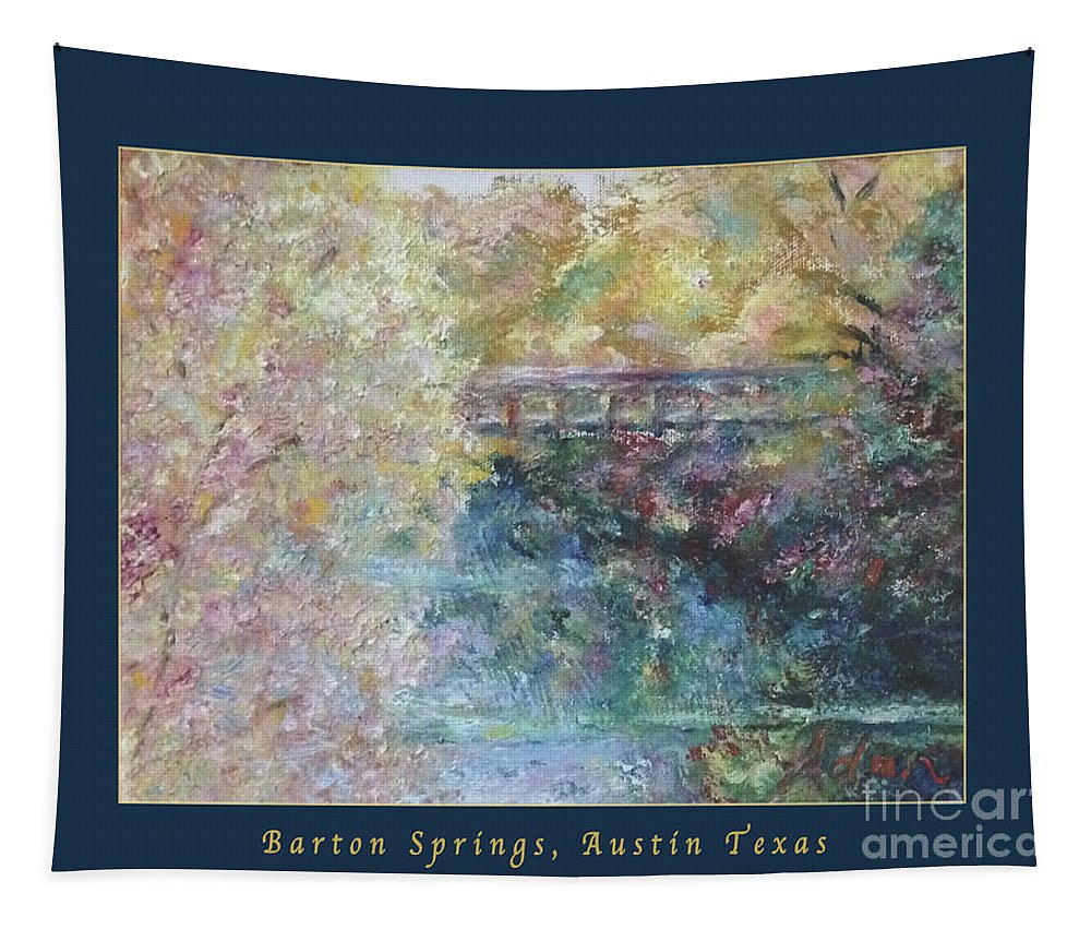 Fall Colors Tapestry featuring the photograph Birds Boaters And Bridges Of Barton Springs - Autumn Colors Pedestrian Bridge Greeting Card Poster by Felipe Adan Lerma
