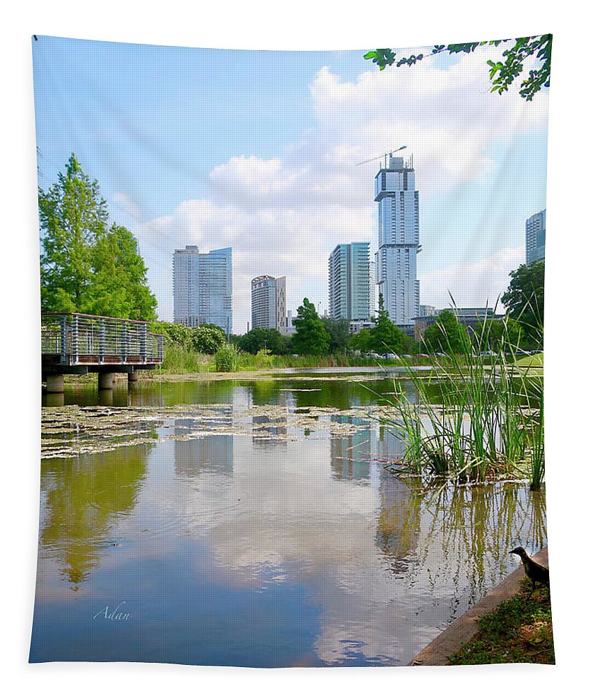 Butler Park Tapestry featuring the photograph Birds Eye View Austin Under Construction by Felipe Adan Lerma