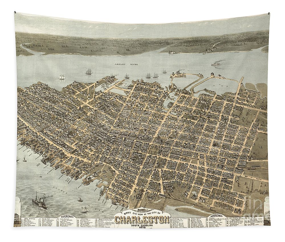 Charleston Tapestry featuring the photograph Birds Eye View Of Charleston by Dale Powell