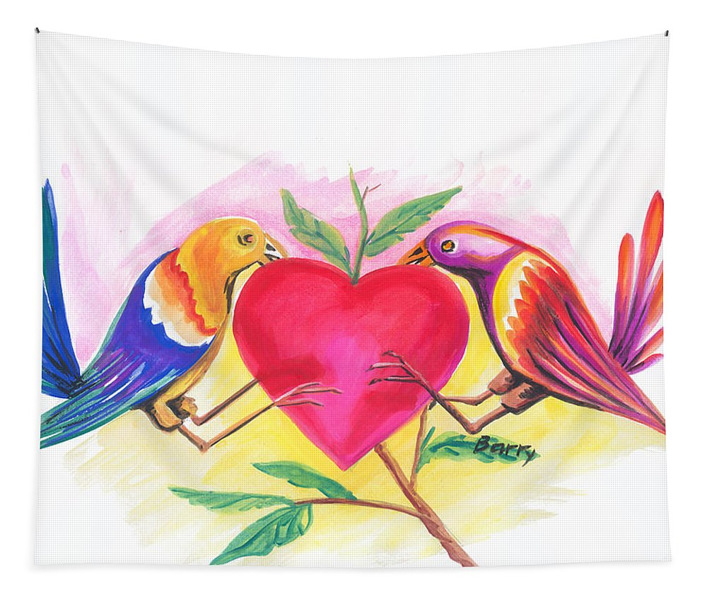 Love Tapestry featuring the painting Birds In Love 01 by Emmanuel Baliyanga
