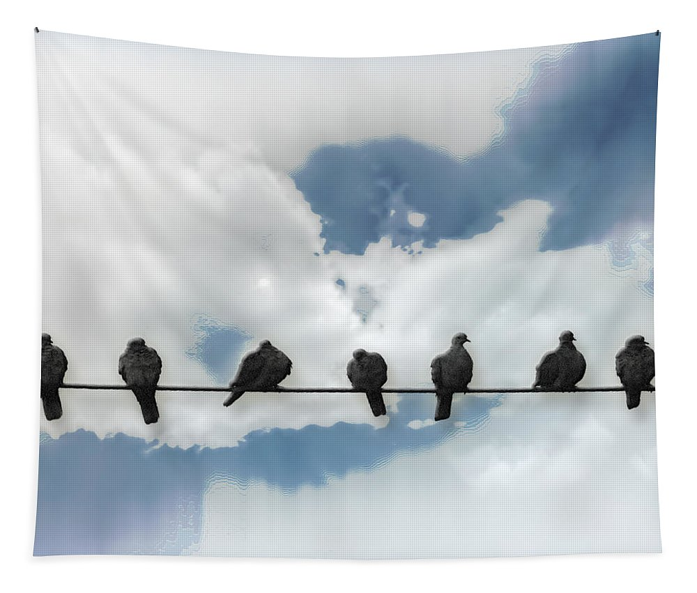 Birds Tapestry featuring the photograph Birds On A Wire by John Anderson