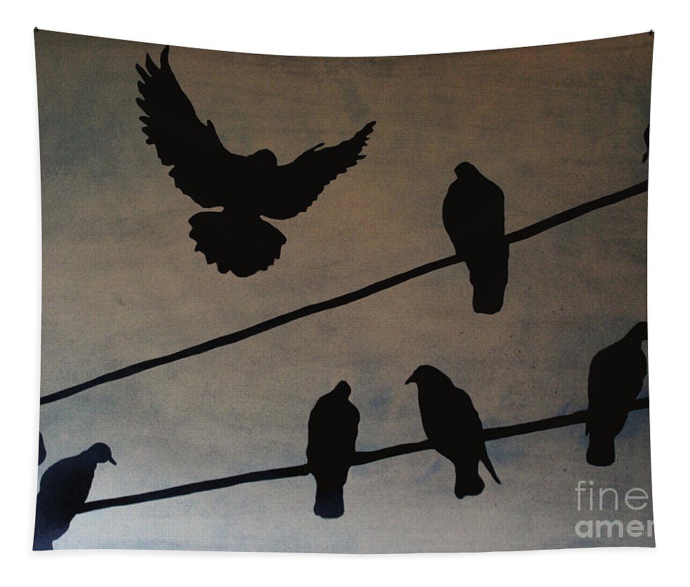Nature Tapestry featuring the painting Birds On Wire by Eddie Barron