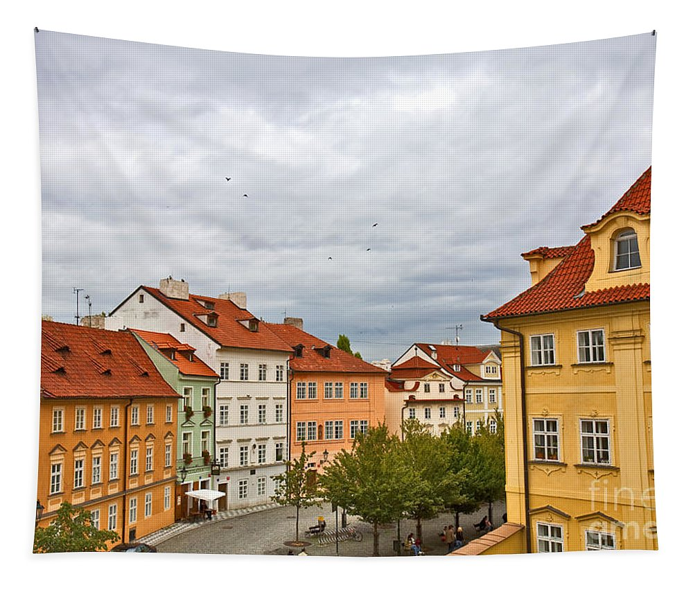 Prague Tapestry featuring the photograph Birds Over Prague by Madeline Ellis