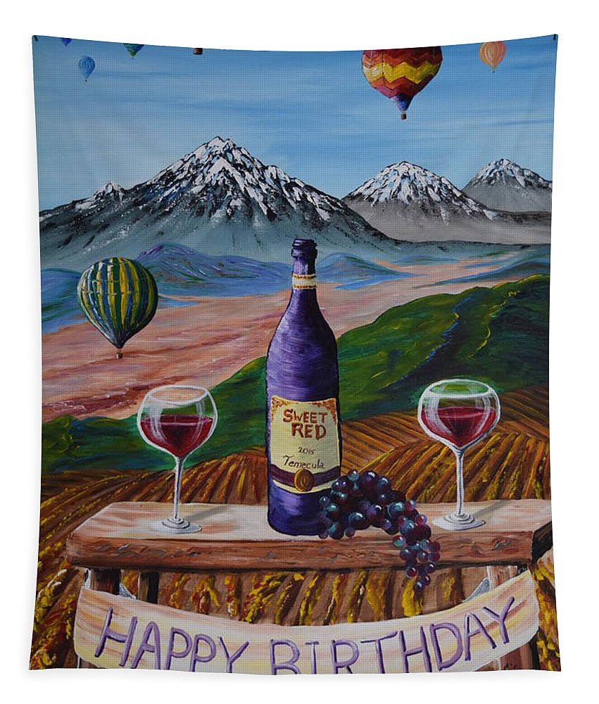 Happy Birthday Tapestry featuring the painting Birthday Balloons by Eric Johansen