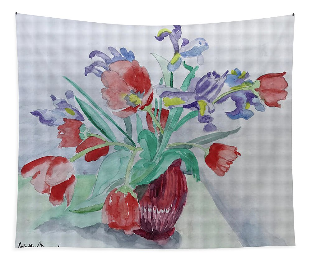 Flowers Tapestry featuring the painting Birthday Bouquet by Iris Dayoub