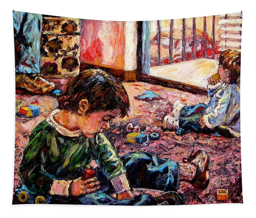 Figure Tapestry featuring the painting Birthday Party Or A Childs View by Kendall Kessler