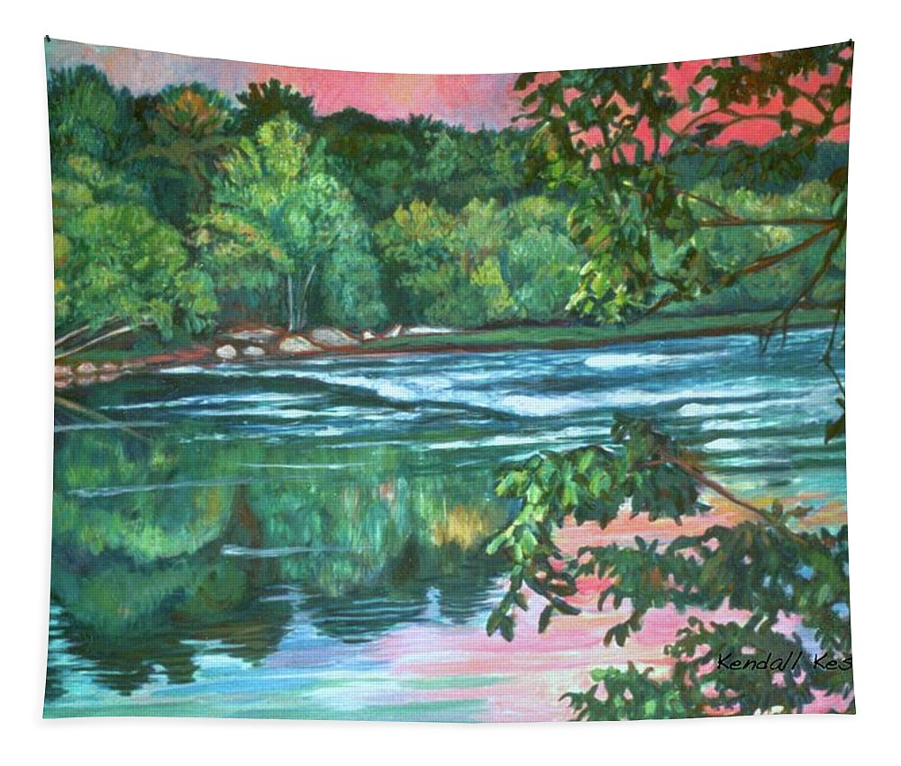 River Tapestry featuring the painting Bisset Park Rapids by Kendall Kessler