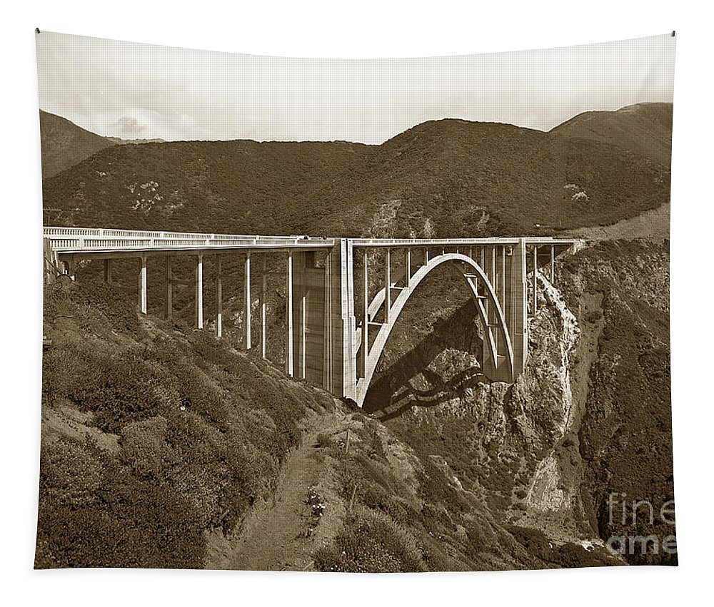 Bixby Creek Tapestry featuring the photograph Bixby Creek Aka Rainbow Bridge Bridge Big Sur Photo 1937 by California Views Archives Mr Pat Hathaway Archives