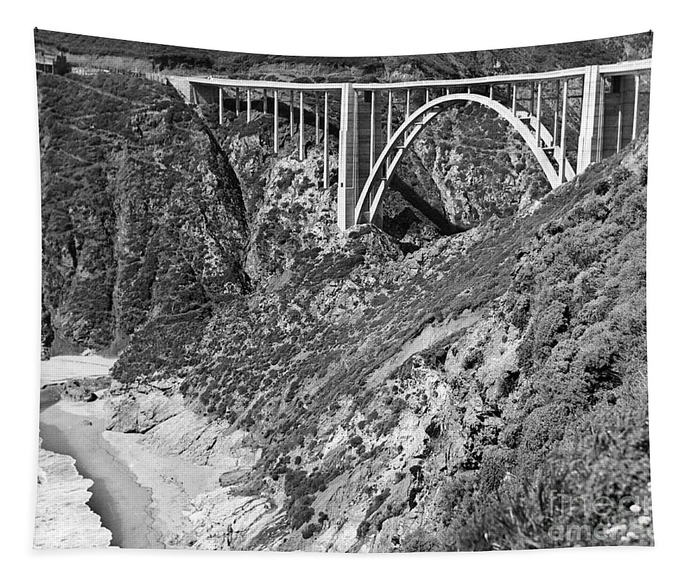 Bixby Creek Aka Rainbow Tapestry featuring the photograph Bixby Creek Bridge Big Sur Photo Circa 1939 by California Views Archives Mr Pat Hathaway Archives