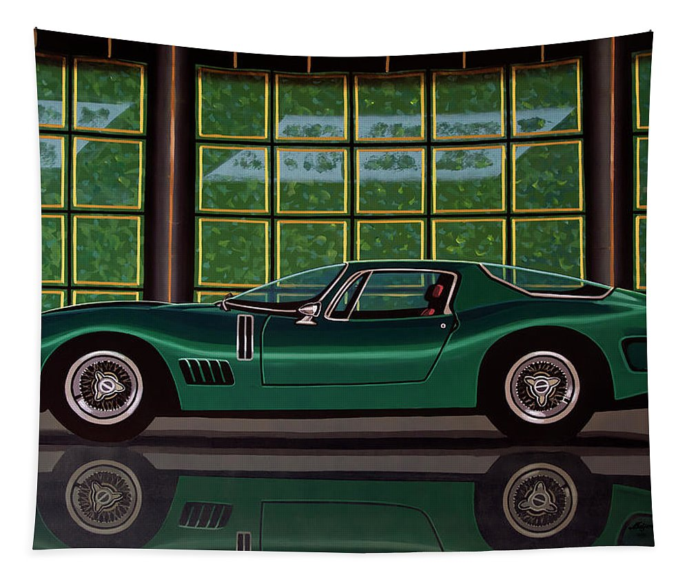 Bizzarrini 5300 Gt Strada Tapestry featuring the painting Bizzarrini 5300 Gt Strada 1965 Painting by Paul Meijering