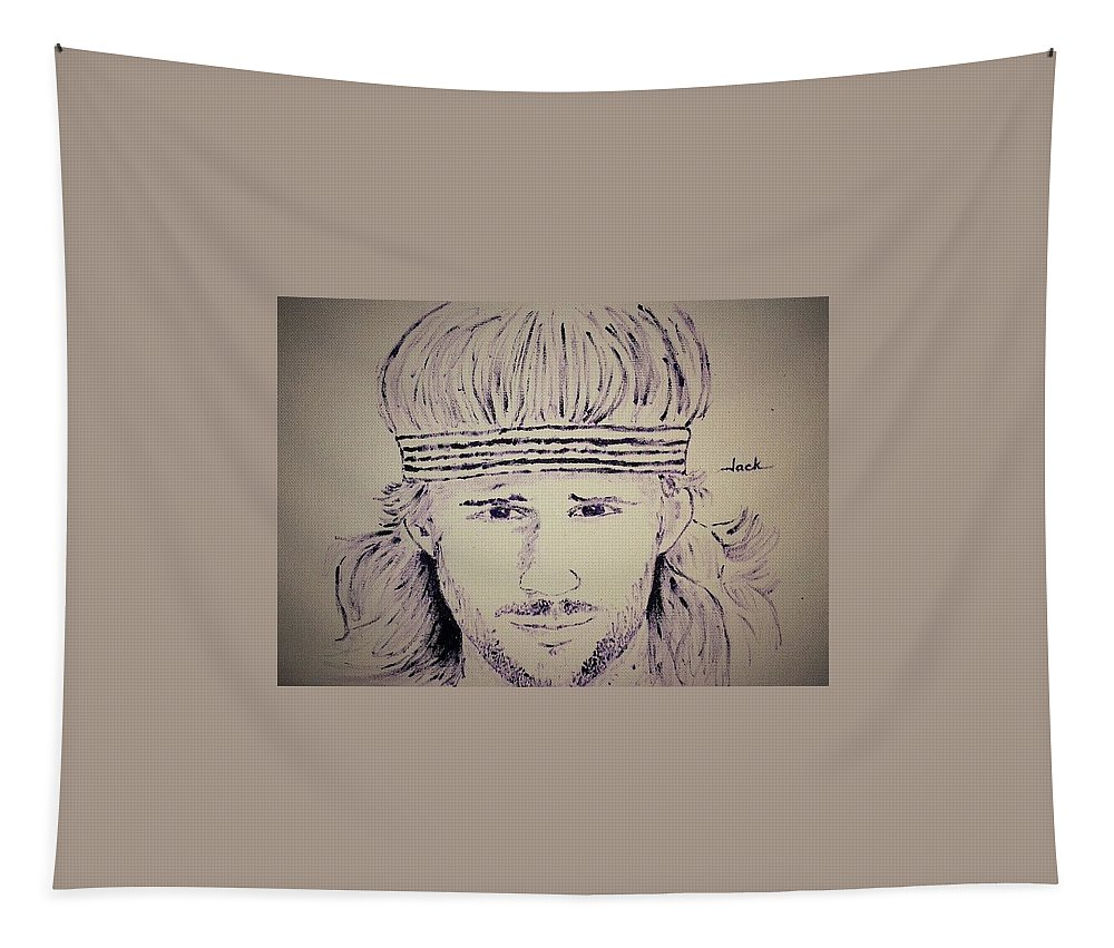 Bjorn Borg Tapestry featuring the painting Bjorn Borg by Jack Bunds