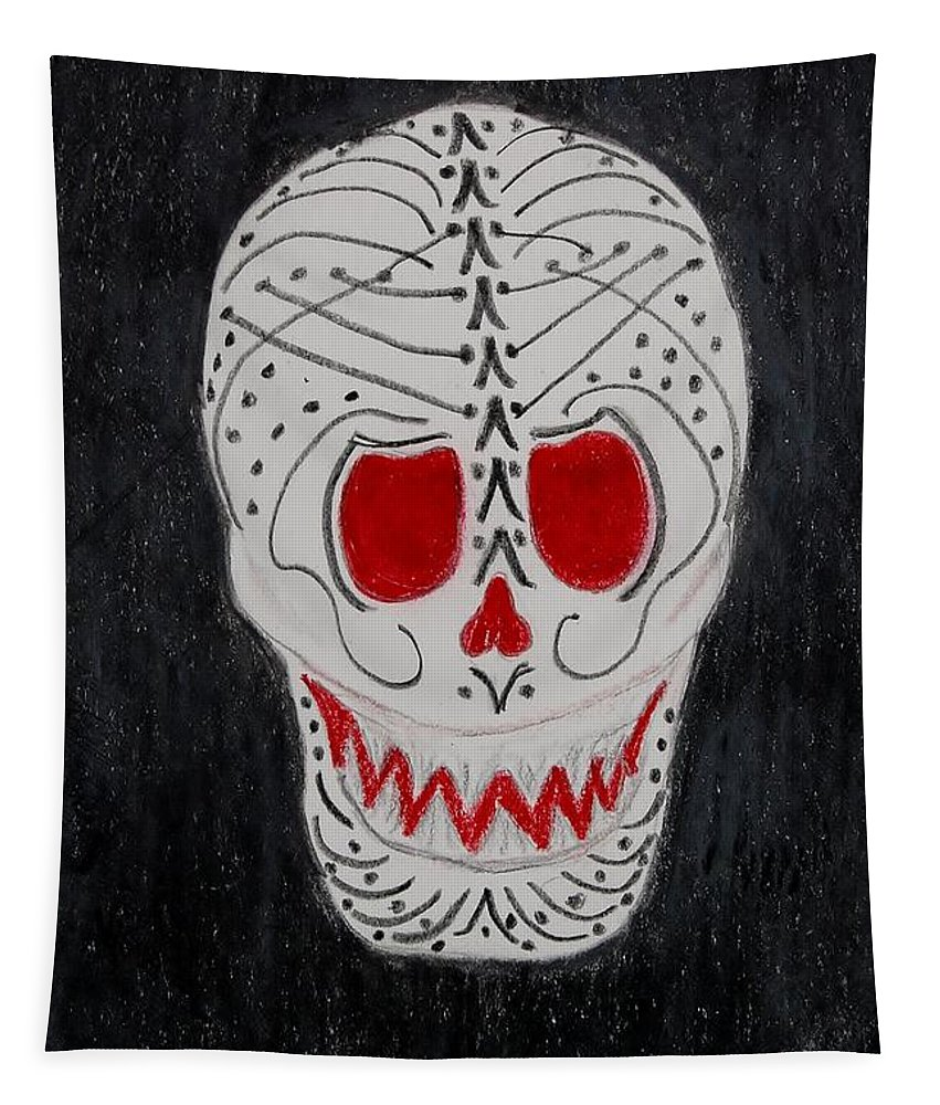 Skull Tapestry featuring the mixed media Black And Red by Charla Van Vlack