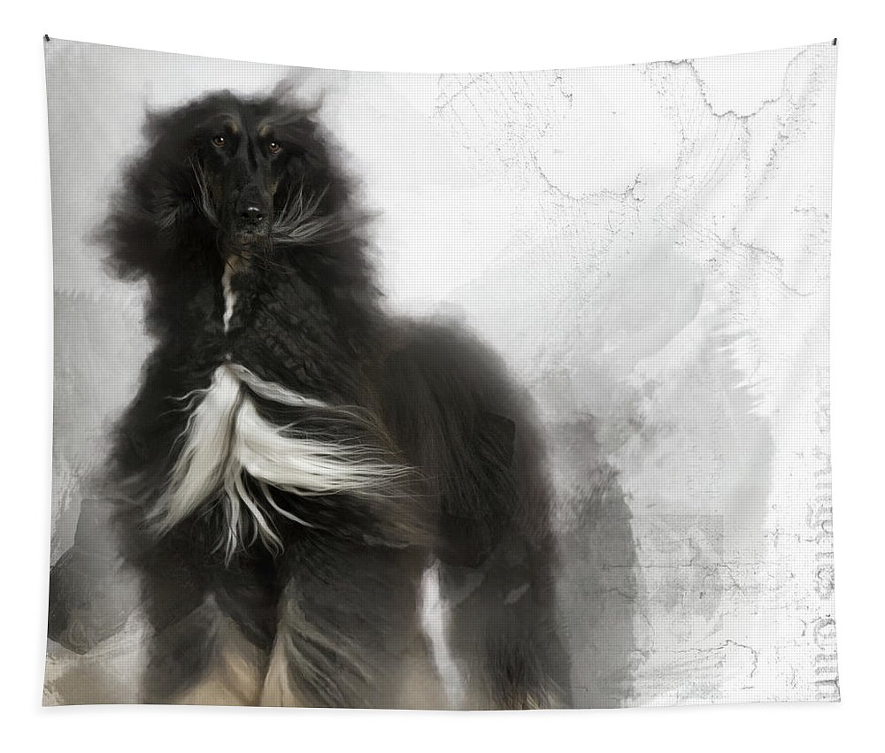 Imia Design Tapestry featuring the digital art Black And Tan Afghan Hound In The Wind by Maria Astedt