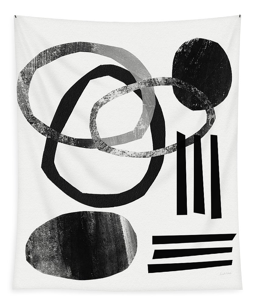 Black And White Abstract Tapestry featuring the mixed media Black And White- Abstract Art by Linda Woods