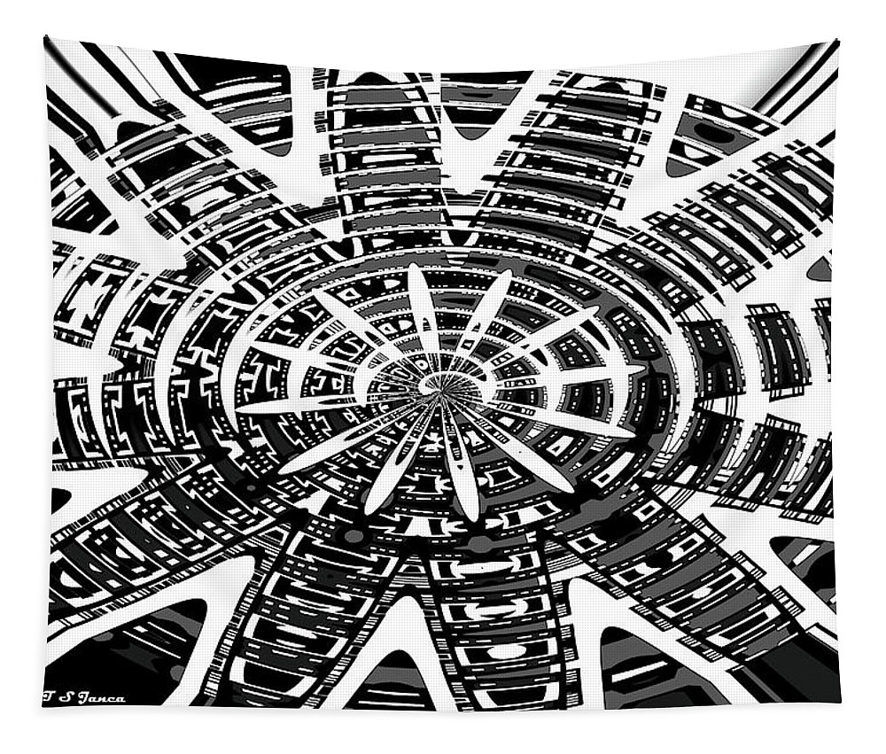 Black And White Abstracts Tapestry featuring the digital art Black And White Abstracts by Tom Janca