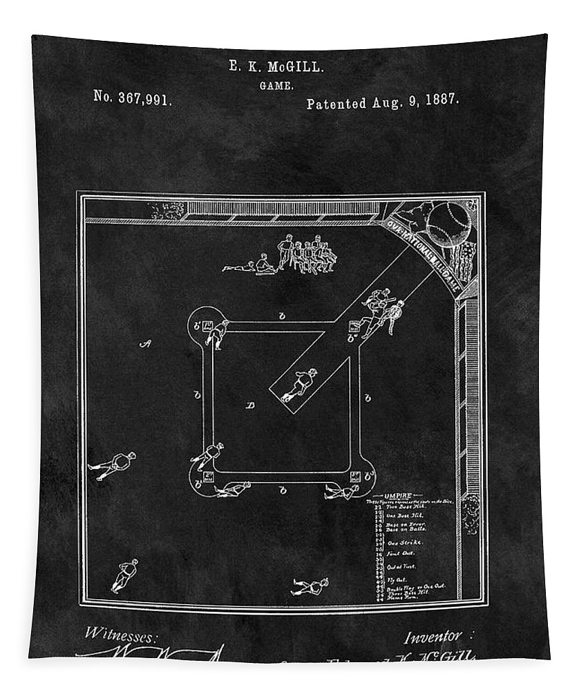 The Invention Of Baseball Tapestry featuring the drawing Black And White Baseball Game Patent by Dan Sproul