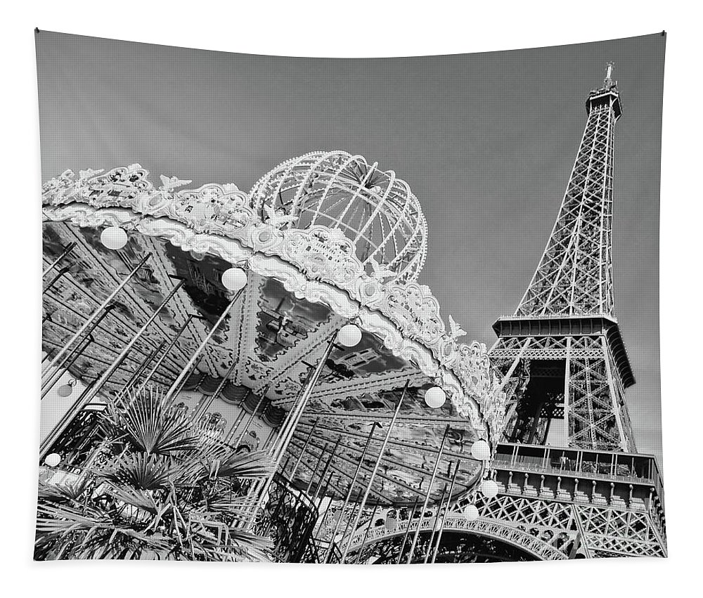 Paris Tapestry featuring the photograph Black And White Carousel by Delphimages Photo Creations