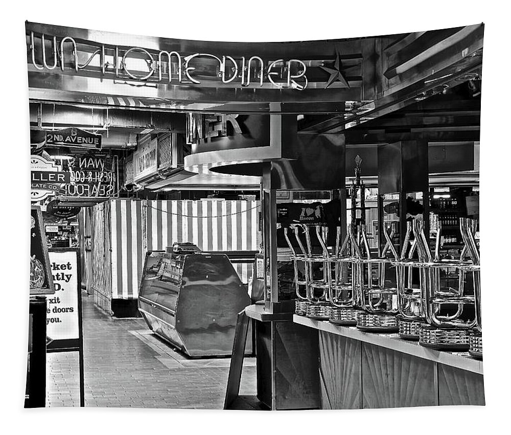 Diner Tapestry featuring the photograph Black And White Diner by Frozen in Time Fine Art Photography