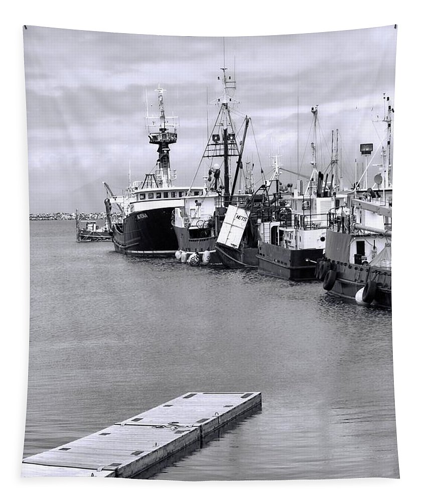 Black And White Fishing Boats On The Dock Tapestry featuring the photograph Black And White Fishing Boats On The Dock by Dan Sproul