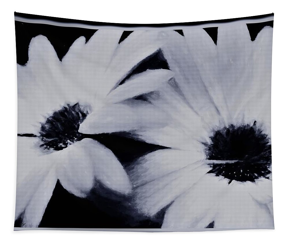 Daisies Tapestry featuring the mixed media Black And White Floral Art by Debra Lynch
