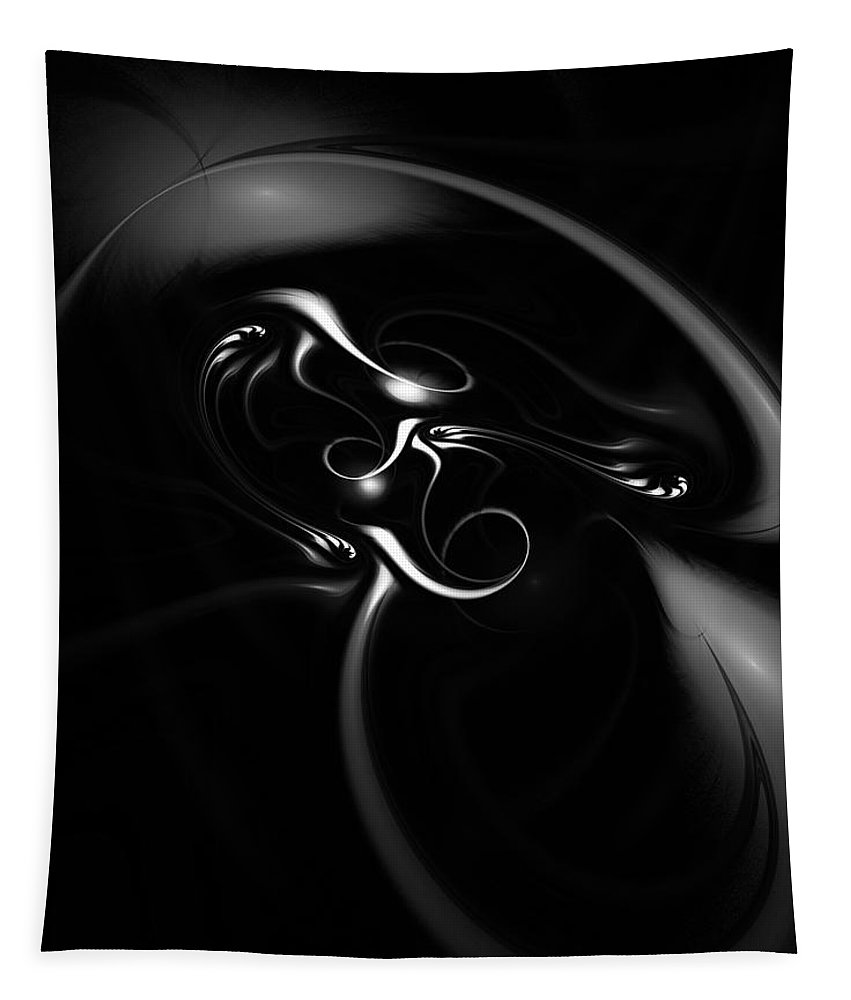 Fractal Tapestry featuring the digital art Black and White Fractal 080810B by David Lane