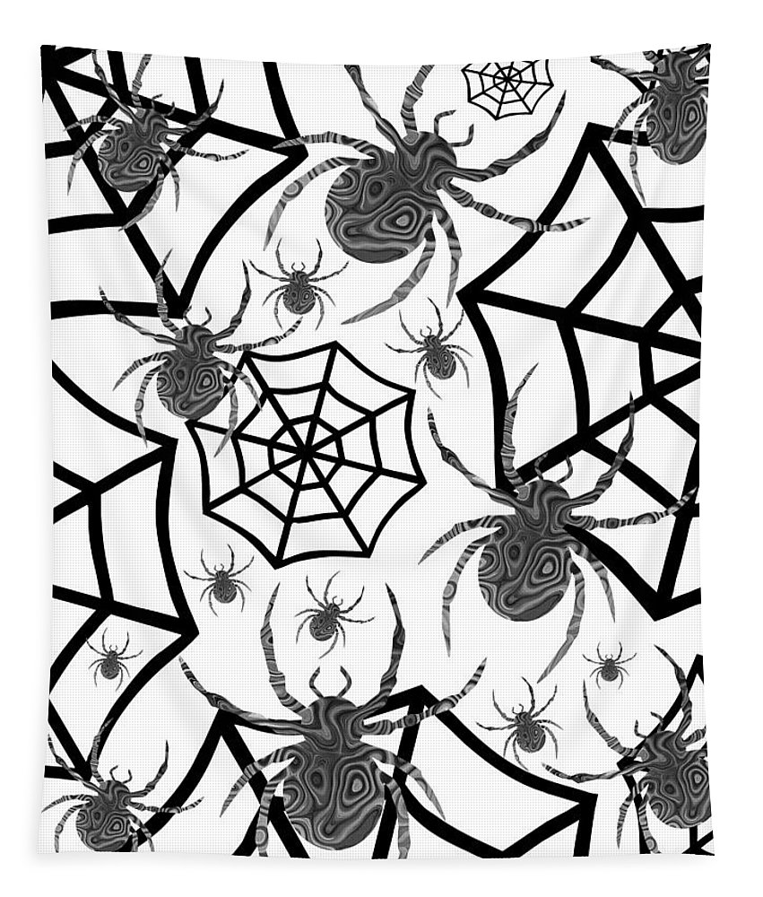 Happy Halloween Tapestry featuring the digital art Black And White Halloween by Kathleen Sartoris