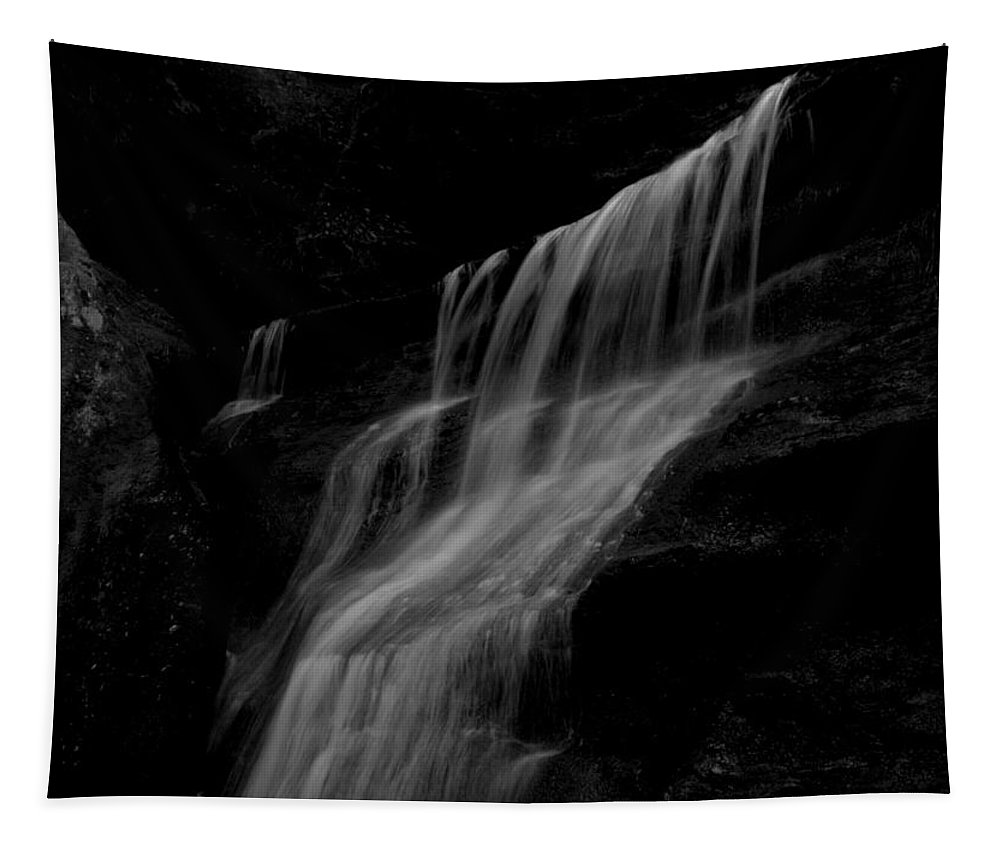 Black And White Hidden Falls Tapestry featuring the photograph Black And White Hidden Falls by Dan Sproul