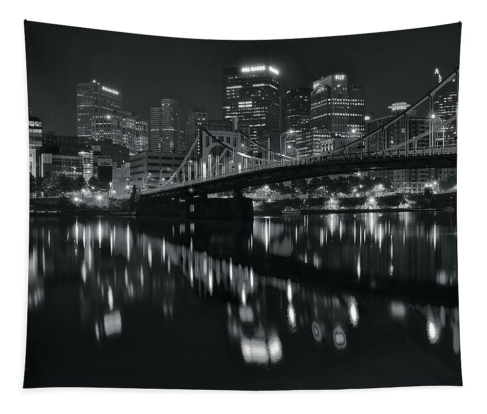Pittsburgh Tapestry featuring the photograph Black And White Lights by Frozen in Time Fine Art Photography