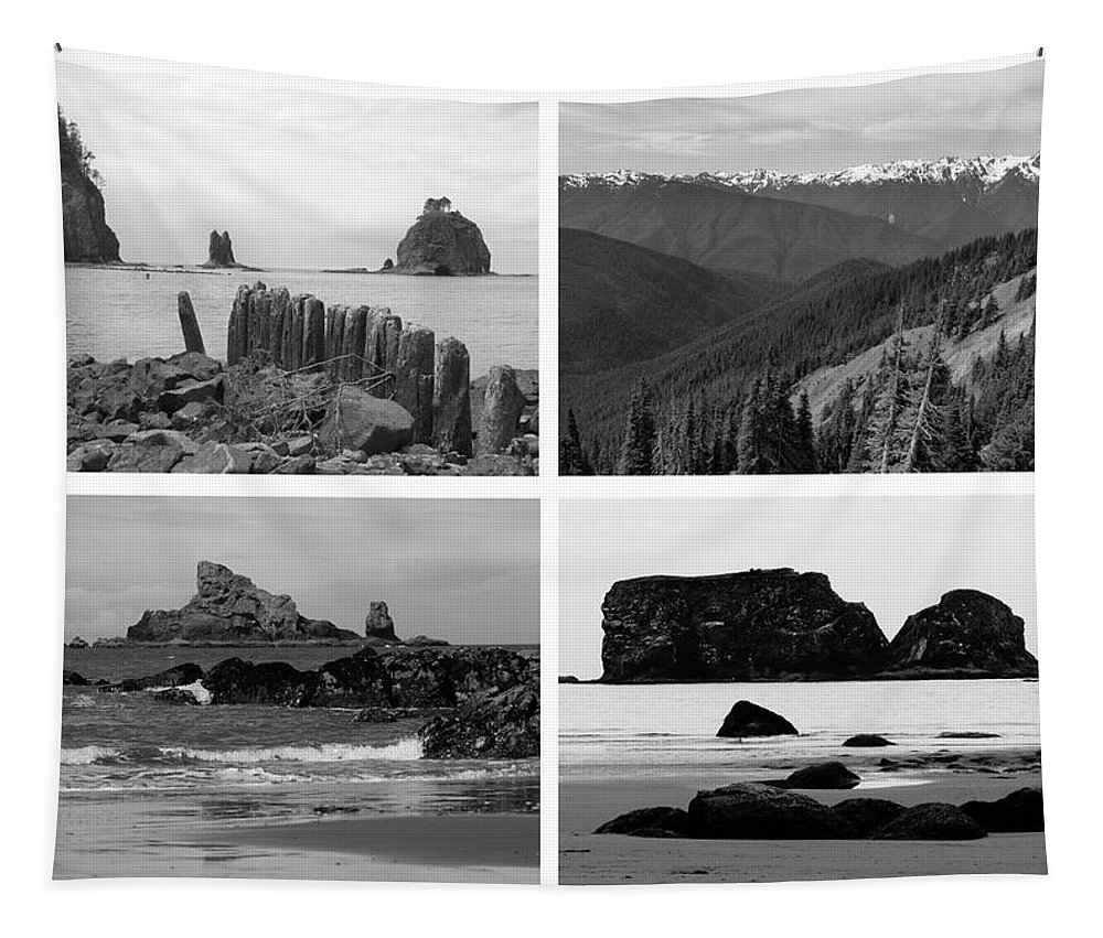 Olympic National Park Collage Tapestry featuring the photograph Black And White Olympic National Park Collage by Dan Sproul