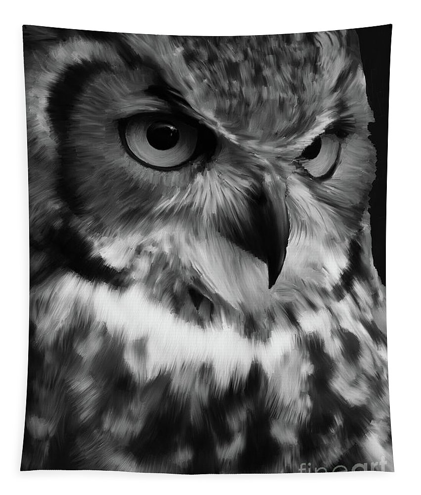 Owl Tapestry featuring the painting Black And White Owl Painting by Gull G