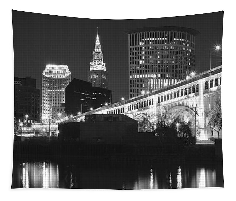 Black Tapestry featuring the photograph Black And White Panorama Of Cleveland by Frozen in Time Fine Art Photography