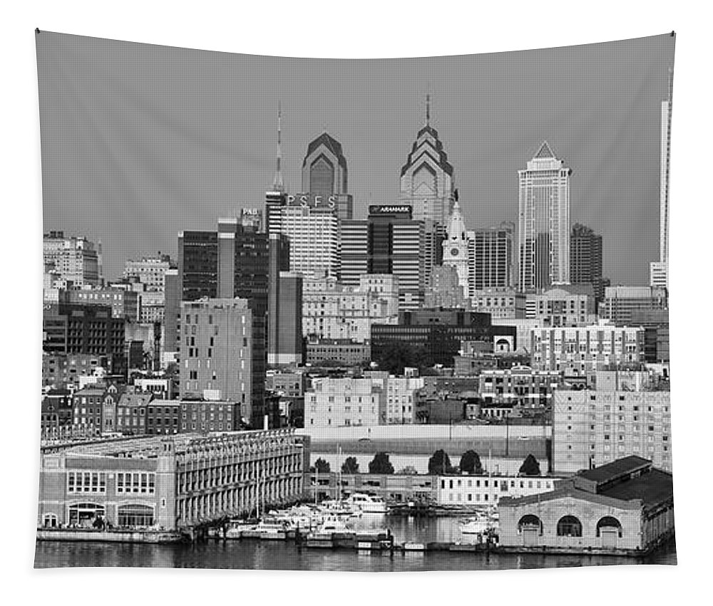 Black Tapestry featuring the photograph Black And White Philadelphia - Delaware River by Bill Cannon