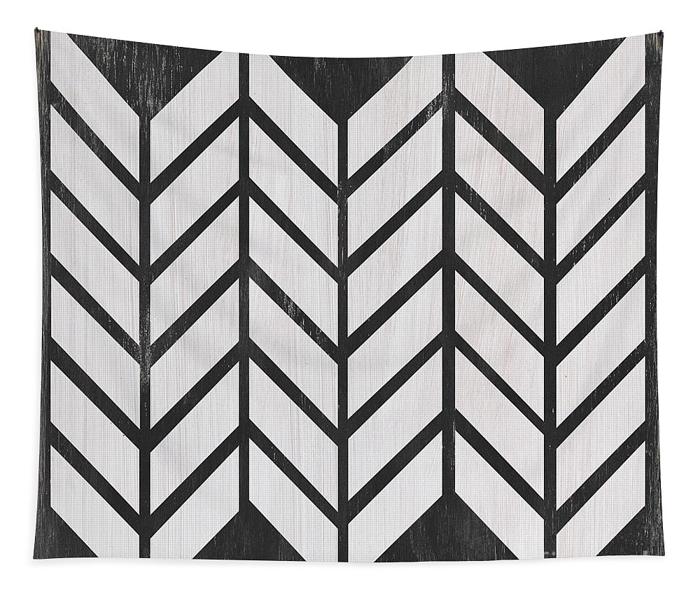 Quilt Tapestry featuring the painting Black And White Quilt by Debbie DeWitt