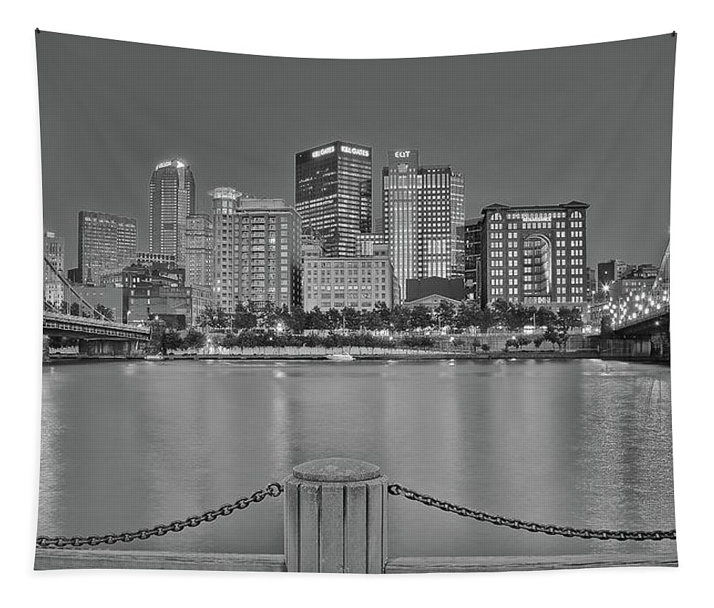 Pittsburgh Tapestry featuring the photograph Black And White Riverfront 2017 by Frozen in Time Fine Art Photography