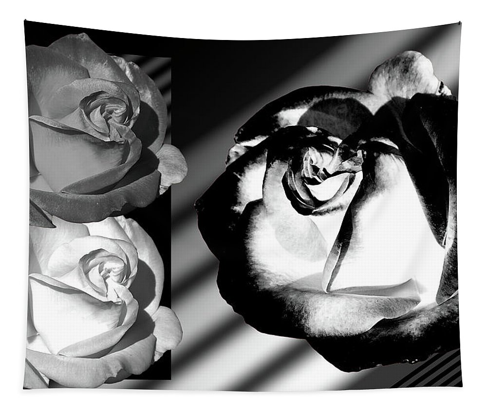 Roses Tapestry featuring the photograph Black And White Roses by Phyllis Denton