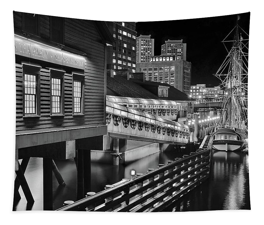 Boston Tapestry featuring the photograph Black And White Tea Party by Frozen in Time Fine Art Photography