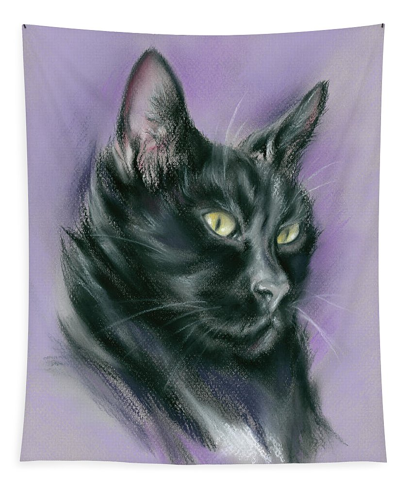 Cat Tapestry featuring the pastel Black Cat Sith by MM Anderson