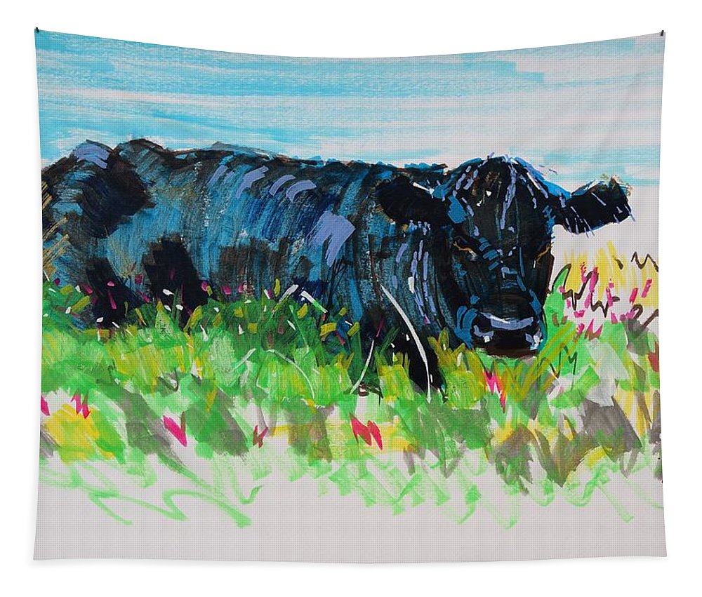 Cow Tapestry featuring the painting Black Cow Lying Down Painting by Mike Jory