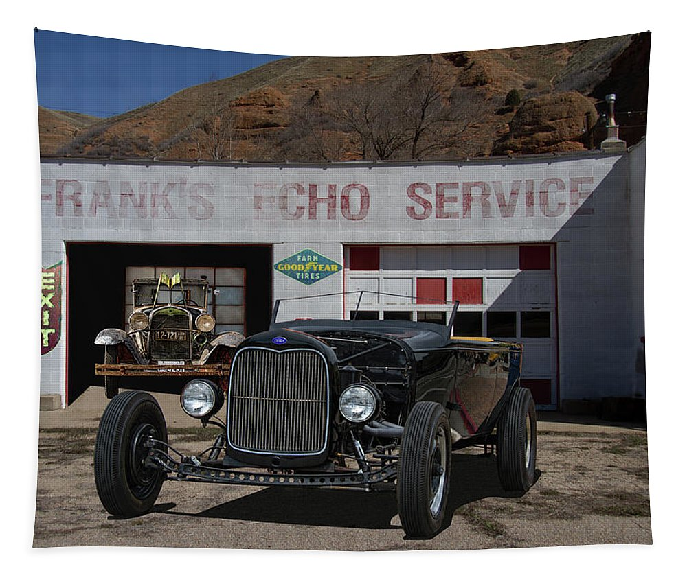 Ford Tapestry featuring the photograph Black Ford Hot Rod Convertible by Nick Gray
